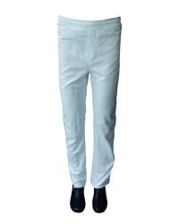 Calça em Brim Branco, todo elástico com bolso lateral na perna