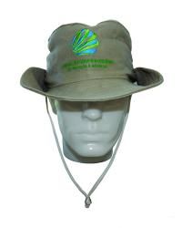 Chapéu Australiano em Brim Caqui com Bordado Centralizado