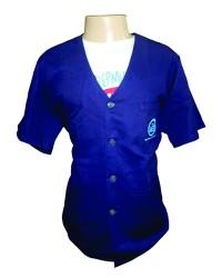Jaleco em Brim Azul Royal com bordado no bolso